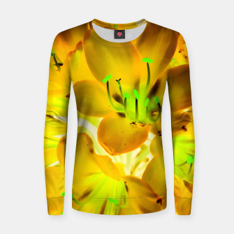 Thumbnail image of closeup yellow flower with green pollen background Woman cotton sweater, Live Heroes