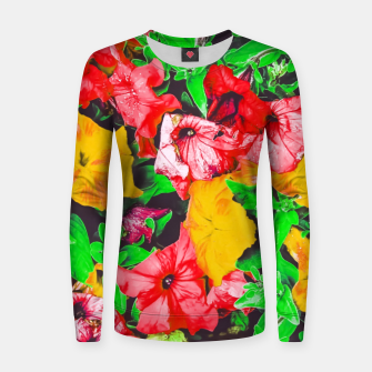 Thumbnail image of closeup flower abstract background in pink red yellow with green leaves Woman cotton sweater, Live Heroes