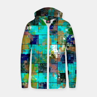 Thumbnail image of psychedelic geometric square pixel pattern abstract background in blue green brown Cotton zip up hoodie, Live Heroes