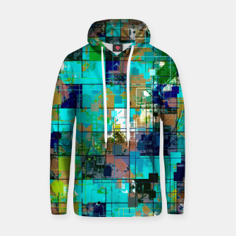 Thumbnail image of psychedelic geometric square pixel pattern abstract background in blue green brown Cotton hoodie, Live Heroes