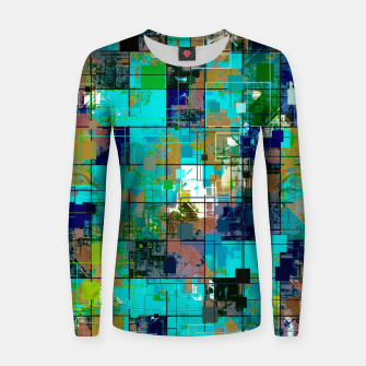 Thumbnail image of psychedelic geometric square pixel pattern abstract background in blue green brown Woman cotton sweater, Live Heroes