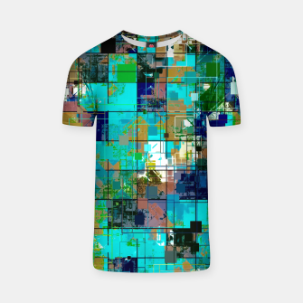 Thumbnail image of psychedelic geometric square pixel pattern abstract background in blue green brown T-shirt, Live Heroes