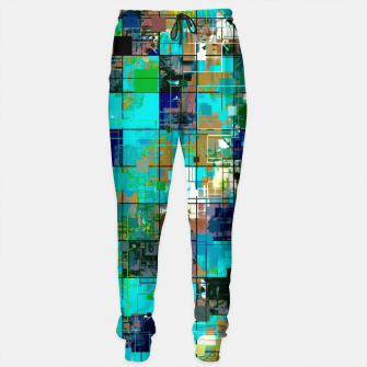 Thumbnail image of psychedelic geometric square pixel pattern abstract background in blue green brown Cotton sweatpants, Live Heroes