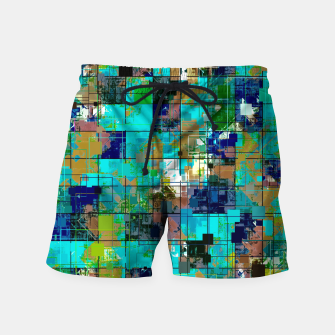 Thumbnail image of psychedelic geometric square pixel pattern abstract background in blue green brown Swim Shorts, Live Heroes