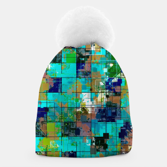 Thumbnail image of psychedelic geometric square pixel pattern abstract background in blue green brown Beanie, Live Heroes