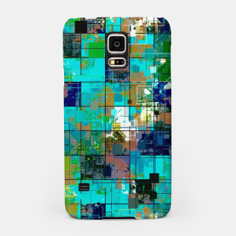 Thumbnail image of psychedelic geometric square pixel pattern abstract background in blue green brown Samsung Case, Live Heroes