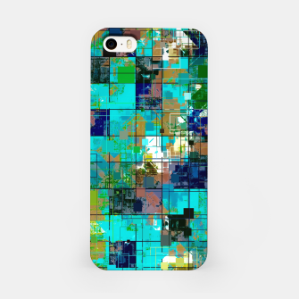 Thumbnail image of psychedelic geometric square pixel pattern abstract background in blue green brown iPhone Case, Live Heroes