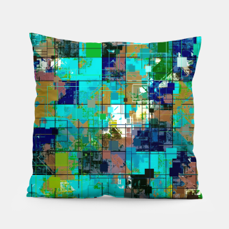 Thumbnail image of psychedelic geometric square pixel pattern abstract background in blue green brown Pillow, Live Heroes