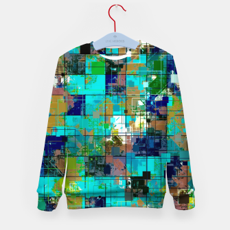 Thumbnail image of psychedelic geometric square pixel pattern abstract background in blue green brown Kid's sweater, Live Heroes