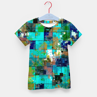 Thumbnail image of psychedelic geometric square pixel pattern abstract background in blue green brown Kid's t-shirt, Live Heroes