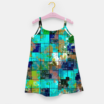 Thumbnail image of psychedelic geometric square pixel pattern abstract background in blue green brown Girl's dress, Live Heroes