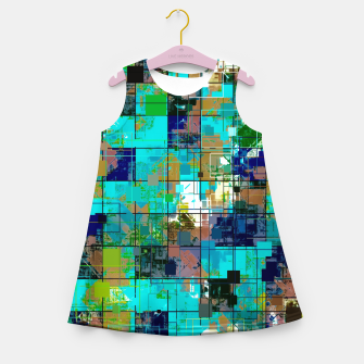 Thumbnail image of psychedelic geometric square pixel pattern abstract background in blue green brown Girl's summer dress, Live Heroes
