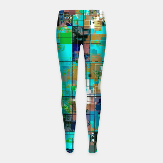 Thumbnail image of psychedelic geometric square pixel pattern abstract background in blue green brown Girl's leggings, Live Heroes