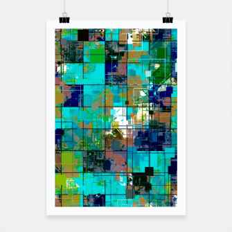 Thumbnail image of psychedelic geometric square pixel pattern abstract background in blue green brown Poster, Live Heroes