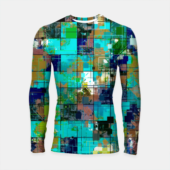 Thumbnail image of psychedelic geometric square pixel pattern abstract background in blue green brown Longsleeve rashguard , Live Heroes