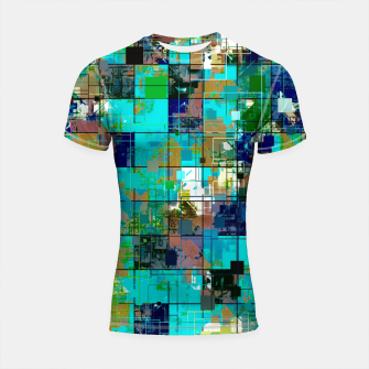 Thumbnail image of psychedelic geometric square pixel pattern abstract background in blue green brown Shortsleeve rashguard, Live Heroes