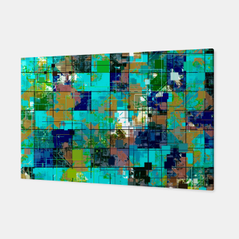 Thumbnail image of psychedelic geometric square pixel pattern abstract background in blue green brown Canvas, Live Heroes