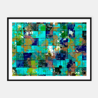 Thumbnail image of psychedelic geometric square pixel pattern abstract background in blue green brown Framed poster, Live Heroes