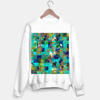 Thumbnail image of psychedelic geometric square pixel pattern abstract background in blue green brown Sweater regular, Live Heroes