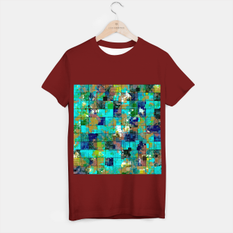 Thumbnail image of psychedelic geometric square pixel pattern abstract background in blue green brown T-shirt regular, Live Heroes