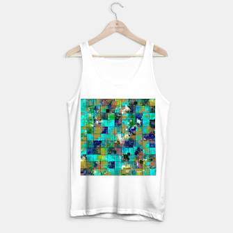 Thumbnail image of psychedelic geometric square pixel pattern abstract background in blue green brown Tank Top regular, Live Heroes
