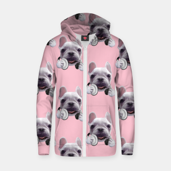French Bulldog Cotton zip up hoodie imagen en miniatura