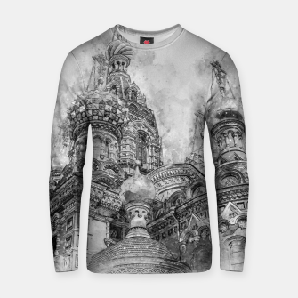 Thumbnail image of Saint Petersburg City Russia black and White Digial Painting Cotton sweater, Live Heroes