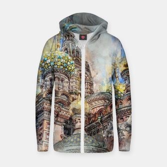 Thumbnail image of Saint Petersburg City Russia Colour Digial Painting Cotton zip up hoodie, Live Heroes