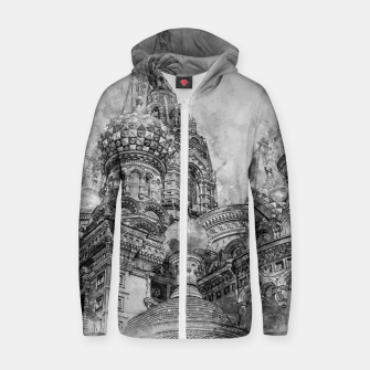 Thumbnail image of Saint Petersburg City Russia black and White Digial Painting Cotton zip up hoodie, Live Heroes