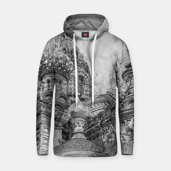 Thumbnail image of Saint Petersburg City Russia black and White Digial Painting Cotton hoodie, Live Heroes