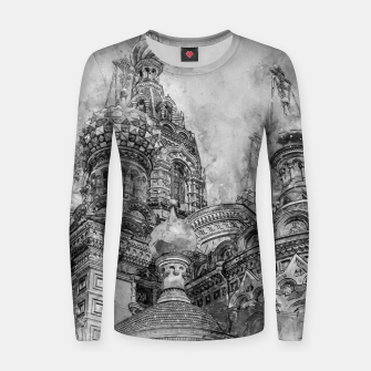 Thumbnail image of Saint Petersburg City Russia black and White Digial Painting Woman cotton sweater, Live Heroes