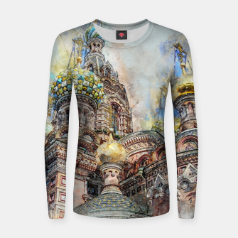 Thumbnail image of Saint Petersburg City Russia Colour Digial Painting Woman cotton sweater, Live Heroes
