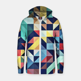 Thumbnail image of Modern Colorful Retro Geometric Triangle Pattern Cotton zip up hoodie, Live Heroes