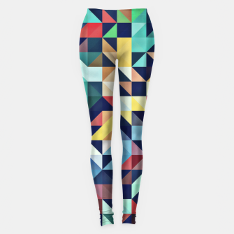 Thumbnail image of Modern Colorful Retro Geometric Triangle Pattern Leggings, Live Heroes