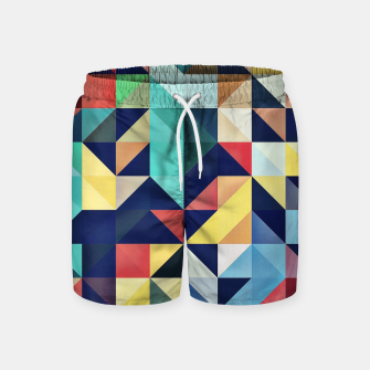 Miniatur Modern Colorful Retro Geometric Triangle Pattern Swim Shorts, Live Heroes