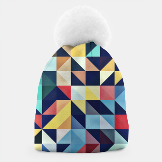 Thumbnail image of Modern Colorful Retro Geometric Triangle Pattern Beanie, Live Heroes
