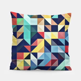 Thumbnail image of Modern Colorful Retro Geometric Triangle Pattern Pillow, Live Heroes