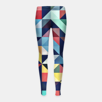 Thumbnail image of Modern Colorful Retro Geometric Triangle Pattern Girl's leggings, Live Heroes