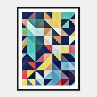 Thumbnail image of Modern Colorful Retro Geometric Triangle Pattern Framed poster, Live Heroes