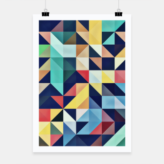 Thumbnail image of Modern Colorful Retro Geometric Triangle Pattern Poster, Live Heroes
