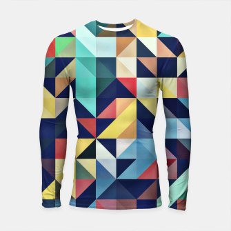 Thumbnail image of Modern Colorful Retro Geometric Triangle Pattern Longsleeve rashguard , Live Heroes