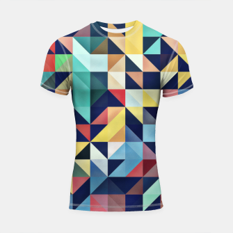 Thumbnail image of Modern Colorful Retro Geometric Triangle Pattern Shortsleeve rashguard, Live Heroes