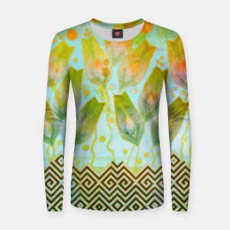 Thumbnail image of Abstract flowers pattern  Woman cotton sweater, Live Heroes