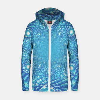 Thumbnail image of  Fresh Modern Green Warp Cactus Pattern Fractal Art! Cotton zip up hoodie, Live Heroes