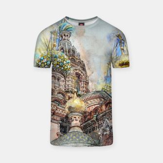 Thumbnail image of Saint Petersburg City Russia Colour Digial Painting T-shirt, Live Heroes