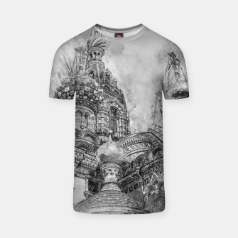 Thumbnail image of Saint Petersburg City Russia black and White Digial Painting T-shirt, Live Heroes