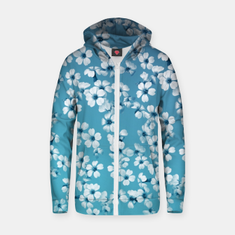 Miniaturka Small flowers on blue wall Cotton zip up hoodie, Live Heroes