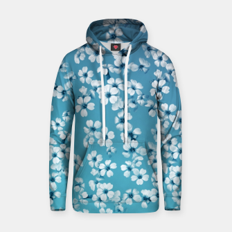Thumbnail image of Small flowers on blue wall Cotton hoodie, Live Heroes