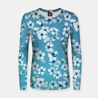 Miniaturka Small flowers on blue wall Woman cotton sweater, Live Heroes