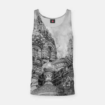 Thumbnail image of Saint Petersburg City Russia black and White Digial Painting Tank Top, Live Heroes